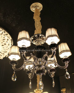 Pendant Indoor Crystal Decoration Chandelier with Fabric Shade pictures & photos