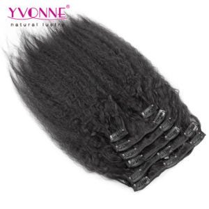 Brazilian Human Hair Clip in Extension Kinky Straight Clip in Hair Extensions pictures & photos