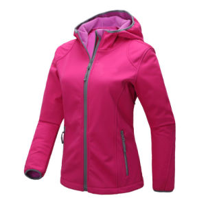Women Skinny Pink Hoody Softshell Jacket pictures & photos