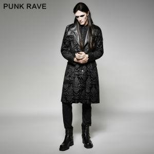 Y-692 Punk Vintage Black Men Winter Sharp Cone Long Leather Jacket with Big Pocket pictures & photos