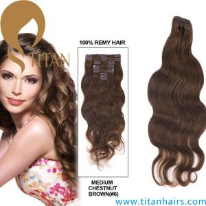 Brown Color Virgin Remy Clip on Hair Extension (TT 362)