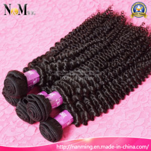 Machine Weft Double Drawn Kinky Mongolian Curl Virgin Short Hair pictures & photos