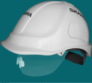 White Construction Half Face Safet Helmet with Visor pictures & photos