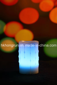Colour Changing Real Wax Flameless LED Candle with Remote (HR32C)