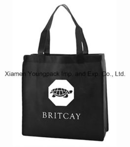 Custom Black Non Woven PP Reusable Bag for Shopping pictures & photos