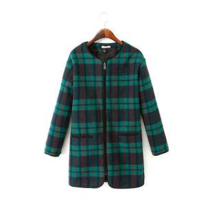 OEM Fashion Clothing Front Zipper Women Winter Long Woolen Coat pictures & photos