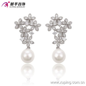 Fashion Luxury CZ Crystal Flower Silver Jewelry Pearls Eardrops for Wedding or Party - 91391 pictures & photos