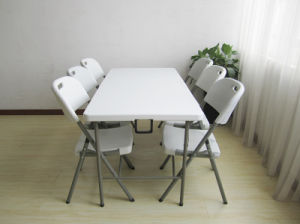 HDPE Plastic Rectangular Folding in Half Dining Table pictures & photos