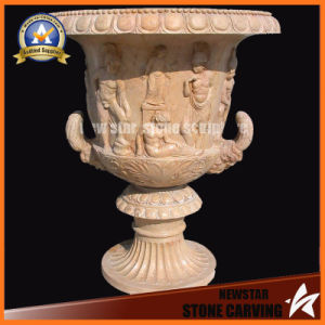 Figture Surface Beige Marble Carving Flower Pot Stand (NS-11P9) pictures & photos