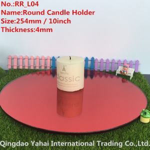 4mm Large Round Red Glass Mirror Candle Holder pictures & photos