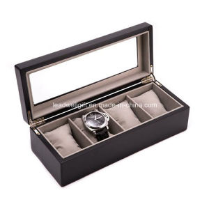 Wood 4-Slot Watch Box Glass Top Window Gift Box pictures & photos