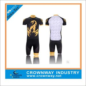 Black Polyester and Spandex Cycling Jersey for Men pictures & photos