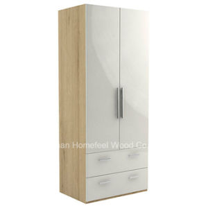 Cream Color High Gloss Wardrobe Cabinet (HF-EY045) pictures & photos