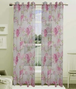Printed Voile Grommet Panel Window Curtain (HR14WT061) pictures & photos