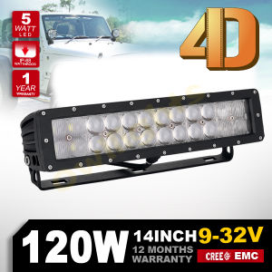 New Products 2016 Innovative Product 4X4 LED Light Bar Cover Free 4D Reflector Optic Lens 16inch 120W 4D Lens LED Light Bar
