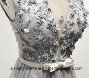 Elegant Crystal Beaded Lace A-Line Long Evening Dresses pictures & photos