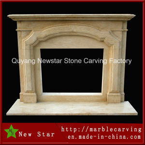 High Polished Egypt Cream Marble Surround Mantel Electric Fireplace, Ns-B89 pictures & photos