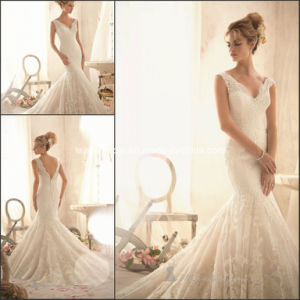 V-Neck Bridal Gowns Mermaid Lace Gorgeous Wedding Dresses Z112 pictures & photos