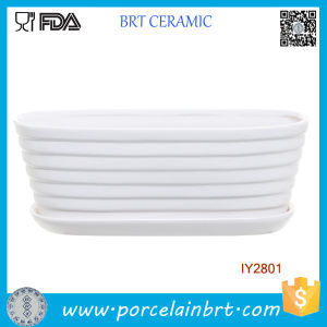 White Ceramic Ribbed Tub Design Pot Garden Plant Box pictures & photos