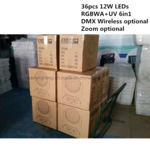 Zoom 36X12W 6in1 Wireless LED Moving Head Light pictures & photos