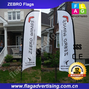 Custom Outdoor Polyester Feather Beach Banner with Fiberglass Pole