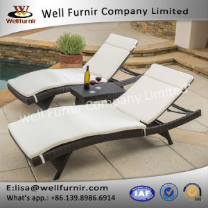 Well Furnir 2017 New Home Decor Wicker 3 Piece Chaise Lounge Set with Cushion pictures & photos