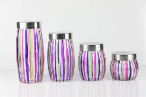 4 PC Spray Colors Glass Container/ Food Glass Jar with Lid pictures & photos