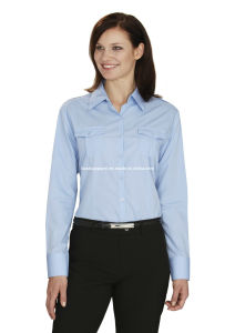 Women′s Work Wear Sky Blue Shirts& Blouses pictures & photos