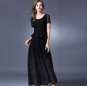 New Model Fashion Summer Short Sleeves Lace Big Skirt Long Lady′s Dress pictures & photos