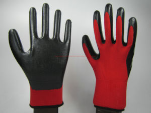 Nitrile Coated Polyester Shell Labor Protective Safety Gloves (NS004) pictures & photos