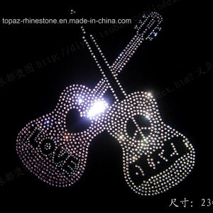 Guitar Crystal Rhinestone Patch Iron on Letters pictures & photos