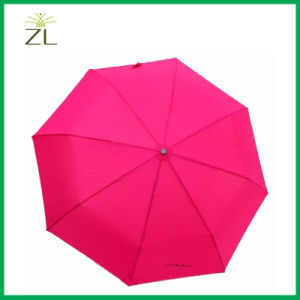 Superior Quality Automatic 21inch Printed Logo Design 3 Fold Umbrella for Rain pictures & photos