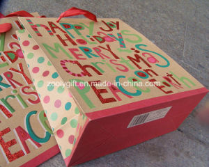 Glitter Design Christmas Recycle Brown Kraft Paper Gift Bag pictures & photos