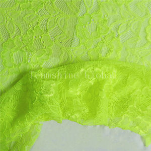 Elastic Yellow Sexy Chemical Lace Fabric (NF1012) pictures & photos