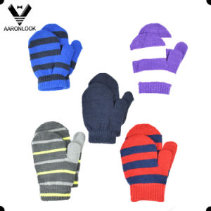 Acrylic Stripe Knitted Kids Baby Thumb Mitten Glove pictures & photos