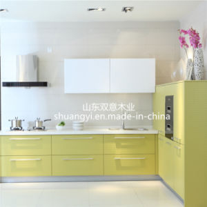 MDF Plywood Kitchen Cabinet with Wood Doors pictures & photos