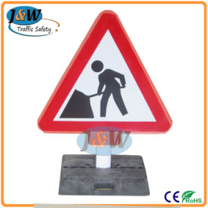 Traffic Cone Mounted Plastic Road Traffic Signs pictures & photos