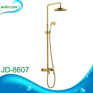 Bathroom Gold Electroplate Rain Head Shower Set with Hand Shower pictures & photos