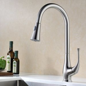 Kitchen Faucet, Brushed Stainless Steel Single Handle Pull out Sprayer Kitchen Mixer Faucet pictures & photos