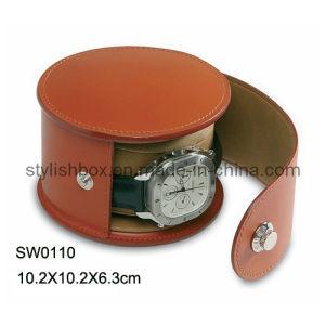 Round Single Brown PU Watch Box (SW0110)