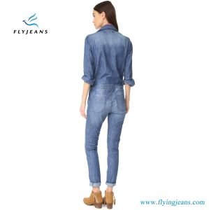 Slim-Fit Women Jumpsuit in Faded Denim (E. P. 826) pictures & photos