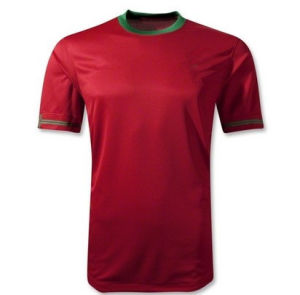 New 2014 Por Home Red Camisetas De Futbol Short Sleeve Cheap Soccer Jerseys Uniform