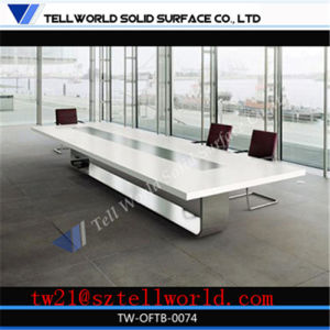 12 Seater Fancy Modern Style Office Furniture Special Rectangular Famous Latest Design White Square Big Divided Stone Commercial Conference Table pictures & photos