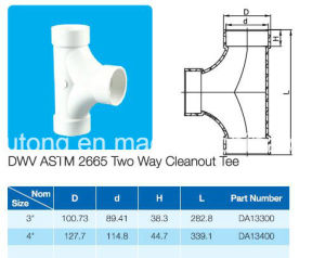 PVC Fitting Two Way Cleanout Tee ASTM D2665 Standard for Dwv Drain Water with NSF Certificate pictures & photos