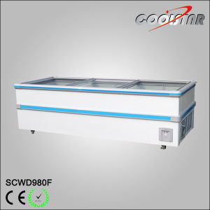 Supermarket Refrigerator Equipment Top Sliding Door Meat Display Island Jumbo Freezer pictures & photos