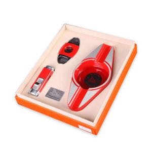 Lubinski High-Quality Red Ashtray Cutter Lighter Set Cigar Suit (ES-LI-008) pictures & photos