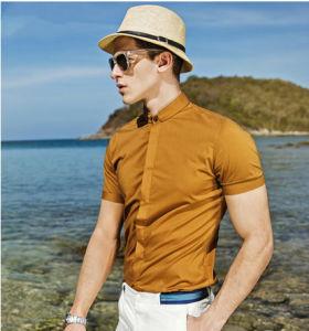Men′s Leisure Slim Fit Yellow Cotton Shirt pictures & photos