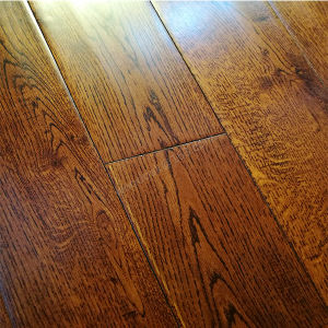 Wood Flooring /White Oak with Black Walnut Color Hardwood Flooring pictures & photos