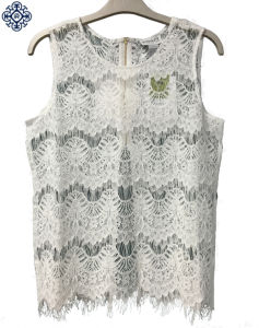 Ladies Scallop Lace Sleeveless Shirt Blouse (BS-79)