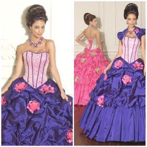 New 2012 Beautiful Sexy Sweetheart A-Line Sheath Jacket Flowers Ruffle Taffeta Quinceanera Dresses (QD-006)